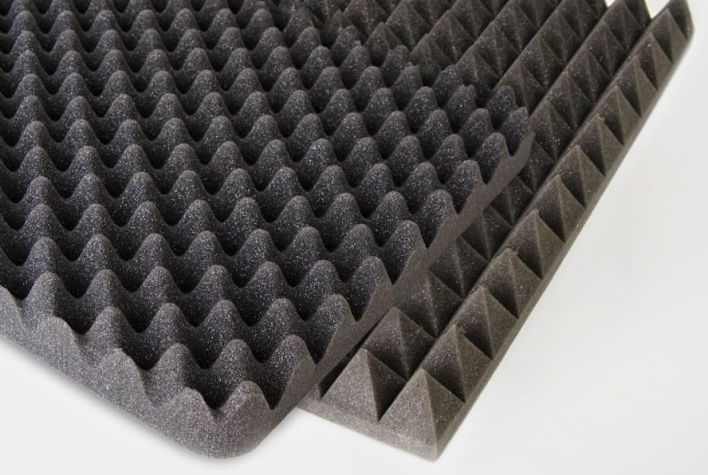 Pyramid and profile sheets made of PUR foam for interior spaces
