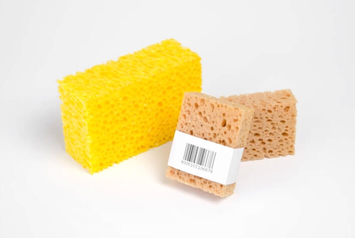 Care sponges made of flexible foam for leather care