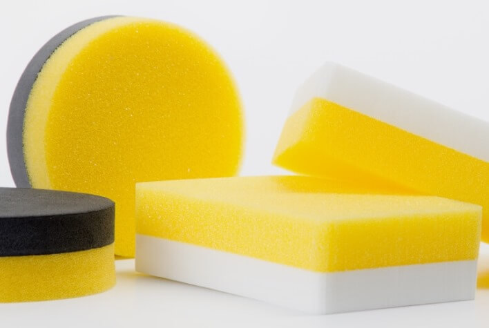 Application sponges and other foam products are suitable to apply care products as well as for care