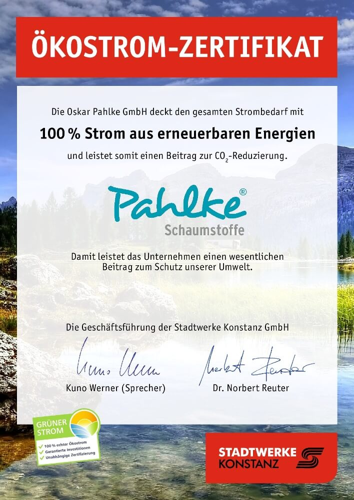 certificate of 100% green electricity